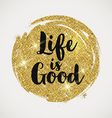 Optimistic quote on a glitter golden background vector image vector image