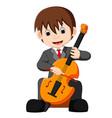 boy playing cello cartoon vector image