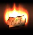Burning bright price sticker in the dark vector image