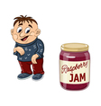Fat boy and the jam jar vector image