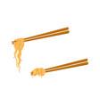 flat asian noodle wok udon on sticks set vector image