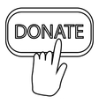 Hand presses button to donate icon outline style vector image