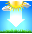 Sun on top white energy arrow and green grass vector image