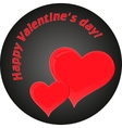 two red hearts on black background card vector image