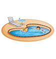 A girl and a boy swimming at the pool vector image vector image
