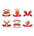meat logos labels fresh meat in flat style vector image