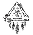 hand drawn wild free lettering vector image vector image