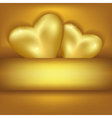 Golden stylish background with hearts vector image vector image