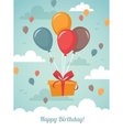Gift box with balloons vector image vector image