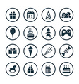 birthday icons universal set vector image