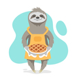 happy cute sloth wearing kitchen apron and holding vector image