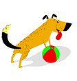 playful cartoon dog with ball cheerful pet vector image