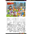 kids and city coloring book vector image vector image
