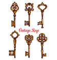 vintage key and skeleton isolated sketch set vector image