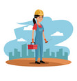character woman employee worker construction vector image