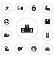 Set of 12 editable training icons includes vector image