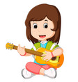 a girl playing guitar vector image