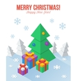 Axonometric Christmas greeting card in flat style vector image vector image