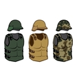 Military clothing protection vests camouflage body vector image