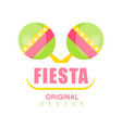 fiesta original logo design colorful label with vector image