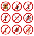 Pest and insect control icons set Tick and vector image
