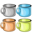 Four mugs of different colors on white background vector image