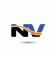 NV company linked letter logo vector image