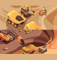 opencast workings banners collection vector image