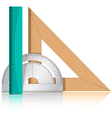 protractor and rulers vector image