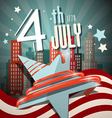 4 th July Retro with Flag Star and City on vector image vector image