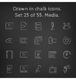 Media icon set drawn in chalk vector image