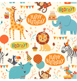 Happy birthday animals pattern vector image vector image