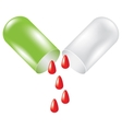 Green pill with drop of blood vector image