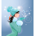 Beautiful brunette girl with warm blue winter hat vector image