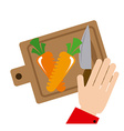 cutting vegetables vector image