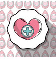 emblem blood donation heart with cross symbol vector image