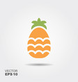 pineapple flat icon with shadow vector image