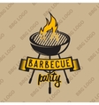 Retro logo design with bbq grilled and flame vector image