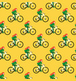 seamless pattern with girls riding bicycle vector image