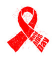 world aids day red ribbon in grunge style spray vector image