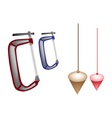 Colorful Set of Plumb Bob and Clamp vector image vector image