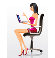 Fashion model presenting a new laptop vector image