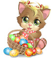 beautiful easter kitten vector image
