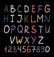 Colorful handwritten alphabet on black vector image
