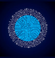 round luminescent blue circuit board with vector image