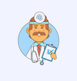 young doctor holding a blank banner in the hands vector image