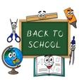 Blackboard with cartoon school supplies vector image