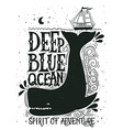 Hand drawn nautical vintage label with a whale vector image