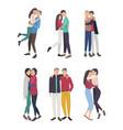 happy friends hug set guys and girls cuddling vector image