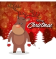 merry christmas card reindeer stand with red vector image